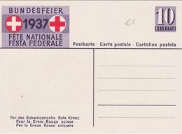 SUISSE 1937 ENTIER POSTAL CARTE FETE NATIONALE THEME CROIX ROUGE  / CHIEN - Portofreiheit