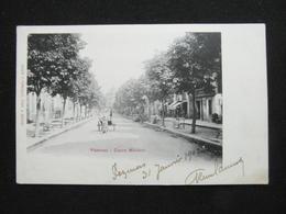 CPA PEZENAS COURS MOLIERE (34 HERAULT) 1902 1NIMEE FEMME CHARRETTE - Pezenas