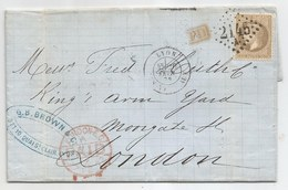 """- Lettre - RHONE - LYON GC.2145 A S/TP Napoléon Laué N°30 + Càd Type 17 + """"PD"""" Rouge - 1872 - 1863-1870 Napoléon III Con Laureles"""