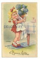 Bonne Fête. Petite Fille Et Bouquet De Fleurs. 1949. Signée Gougeon - Gougeon