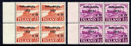 ICELAND 1953 Netherlands Flood Relief In Blocks Of 4 MNH / **.  Michel 285-86 - 1944-... Republic