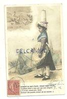 Photographie Montage. Perette Et Le Pot Au Lait En Costume Qui Réfléchit ... Poules Et Poussins. 1906 - Gougeon