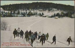 Ski-ing On Mount Royal, Montreal, Quebec, 1914 - Valentine's Postcard - Montreal
