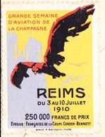 REIMS - Timbre Epreuve Française De La Coupe Cordon-Benett 1910 Au Dos D'une Carte De La Cathédrale - Aviation