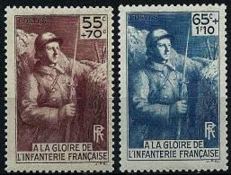 """FR YT 386 & 387  """"A La Gloire De L'Infanterie """" 1938 Neuf* - Unused Stamps"""