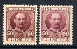 DENMARK 1907 Frederik VIII 50 Øre In Two Shades MNH / **.  Michel 58, SG 128-29 - 1905-12 (Frederik VIII)
