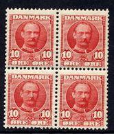 DENMARK 1907 Frederik VIII 10 Øre Block Of 4 MNH / **.  Michel 54 - 1905-12 (Frederik VIII)