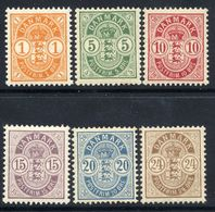 DENMARK 1895-1901 Arms Definitive Perforated 12¾ Set Of 6  MNH / **.  Michel 34-36ZB, 37-39 - 1864-04 (Christian IX)