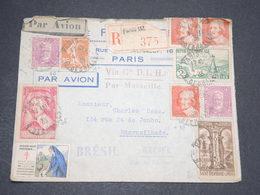 FRANCE - Enveloppe En Recommandé Par Avion De Paris Pour Le Brésil En 1935 , Affranchissement Plaisant - L 13890 - Marcophilie (Lettres)
