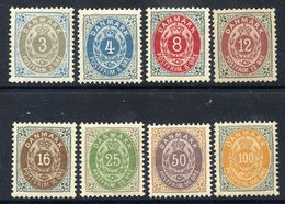 DENMARK 1895-1903 Numeral Definitive Perforated 12¾ Set Of 8 MNH / **.  Michel 22-31 I - 1864-04 (Christian IX)
