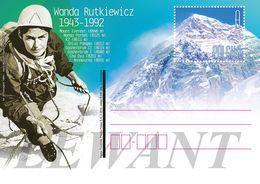POLAND Postcard 2018.02.04. Cp 1801 Wanda Rutkiewicz 1943-1992 - Climber - Mount Everest, Nanga Parbat, K2, Shisa Pangma - Entiers Postaux