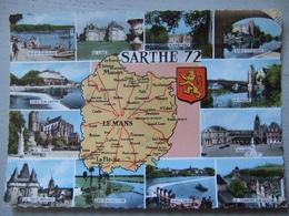 CARTE GEOGRAPHIQUE / LA SARTHE / JOLIE CARTE PHOTO MULTIVUES / 1964 - France