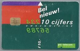 NL.- Telefoonkaart. PTT TELECOM. 10 Gulden. Bel Nieuw! 10 Cijfers. Omnummering. 10 Oktober 1995. - Telefoon