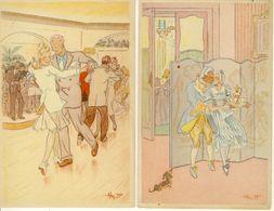 Lot De 2 Cpa  Collection : Couples No 3 Danseurs- No 4 Le Baiser Clandestin  Illustrateur HY.F. - Otros Ilustradores