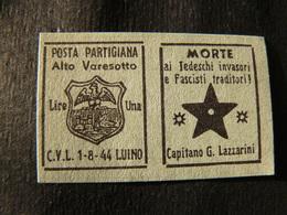 1944   FRANCOBOLLI DELLA POSTA PARTIGIANA DI  LUINO - Italia