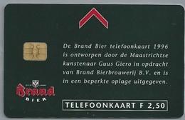 NL.- Telefoonkaart. 2.50 Gulden. BRAND BIER. De Kunst Van Genieten. Ontwerp Guus Giero. Brand Bierbrouwerij. C808 - Levensmiddelen