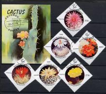 BENIN 1999, FLEURS DE CACTUS, 6 Valeurs Et 1 Bloc, Oblitérés / Used. R1582-3 - Sukkulenten