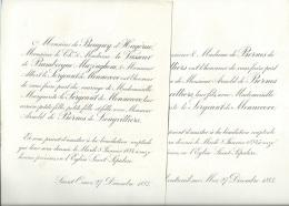 Montreuil Sur Mer  - St Omer  (mars 1893)  F.P. Mariage De  Marguerite Le Sergeant De Monnecore Et Arnold De Bernes - Mariage