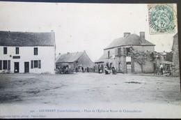 """44   Carte Rare LOUISFERT Place Eglise Route De CHATEAUBRIANT  1907 """"Scieurs De Long""""  CHATEAUBRIANT VINCENT ERBRAY - France"""