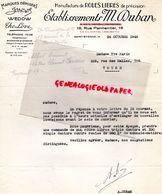 42- SAINT ETIENNE- FACTURE ETS. M. DUBAN-MANUFACTURE ROUES LIBRES WEDOW-THE LOVE-J MOYNE- AUTOMOBILE VOITURE AUTO-1945 - Cars