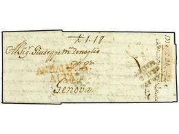 2 ESPAÑA: PREFILATELIA. 1770. CADIZ A GENOVA. Marca <B>ANDALUCIA/ALTA</B> De CADIZ Y Al Dorso Marca <B>CORREO/GRAL DE/MA - Stamps