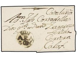 7 ESPAÑA: PREFILATELIA. 1792. TERUEL A CALAF. Marca <B>ARA/GÓN</B> (nº 2). Magnífica Y RARA. - Stamps