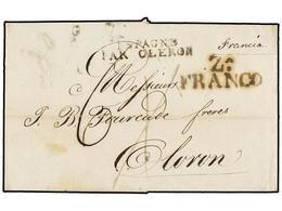 9 ESPAÑA: PREFILATELIA. 1824. ZARAGOZA A OLORÓN. Marca <B>ZA/FRANCO</B>. Preciosa. - Stamps