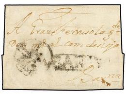 11 ESPAÑA: PREFILATELIA. 1743. BERGA A BARCELONA. Marca<B> BARNA</B> (nº 19) Y Del Administrador ORTIZ En Un Círculo. Mu - Stamps