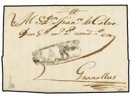 12 ESPAÑA: PREFILATELIA. 1744. BARCELONA A GRANOLLERS. Marca <B>BARNA </B>(nº 19). Rara Y Más En Esta Calidad. - Stamps
