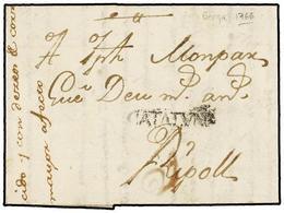 15 ESPAÑA: PREFILATELIA. 1766. BERGA A RIPOLL. Marca<B> CATALUÑA</B> No Reseñada. Extraordinariamente Rara. ÚNICA CONOCI - Stamps
