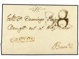 17 ESPAÑA: PREFILATELIA. 1776 (29-Oct.). MONTBLANC A BARCELONA. Marca <B>CATALUÑA</B> (nº 1) De Montblanch En Tinta De E - Unclassified