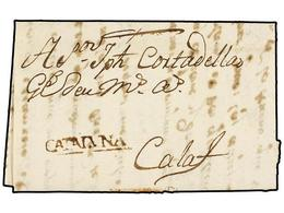 20 ESPAÑA: PREFILATELIA. 1790. BERGA A CALAF. Marca<B> CATALUÑA </B>(nº 3) En Tinta De Escribir. RARA. - Stamps