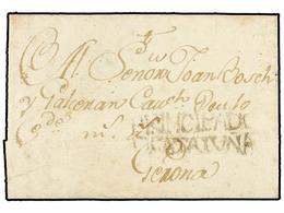 21 ESPAÑA: PREFILATELIA. 1795. CALONGE A GERONA. Marca<B> PRINCIPADO/DE CATALUÑA</B> (nº 4) De LA BISBAL. Rarísima Y Pri - Stamps