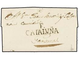 22 ESPAÑA: PREFILATELIA. 1799. ST. LLORENÇ DE LA MUGA A GERONA. Marca <B>F/CATALUÑA </B>(nº 14) De FIGUERAS. MAGNÍFICA. - Stamps