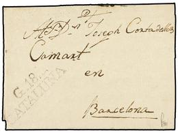 24 ESPAÑA: PREFILATELIA. 1803. GRANOLLERS A BARCELONA. Marca <B>G18/CATALUÑA</B> (nº 3). MAGNÍFICA. - Stamps