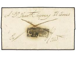 25 ESPAÑA: PREFILATELIA. 1817 (9 Enero). CEDO (Lérida) A REUS. Carta Completa Con El Porte Pagado (dos Líneas Que Cruzan - Unclassified