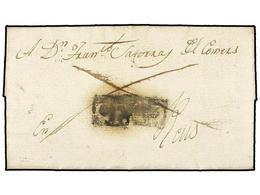 25 ESPAÑA: PREFILATELIA. 1817 (9 Enero). CEDO (Lérida) A REUS. Carta Completa Con El Porte Pagado (dos Líneas Que Cruzan - Stamps