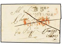 27 ESPAÑA: PREFILATELIA. 1835. BERGA A PUIGCERDA. Marca <B>B5/CATALUÑA</B> Y Manuscrito <B>FRANCO ALOY</B> (no Había Mar - Stamps