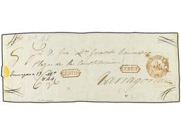 28 ESPAÑA: PREFILATELIA. 1844. CERVERA A TARRAGONA. Frente De Carta <B>CERTIFICADA. </B>Fechador <B>CERVERA/CATALUÑA </B - Stamps