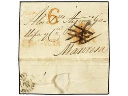 30 ESPAÑA: PREFILATELIA. 1845. BARCELONA A MANRESA. Carta Fechada En Barcelona (11-Mayo), Puesta Al Correo En Bayona (fe - Stamps