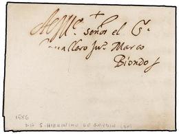 32 ESPAÑA: PREFILATELIA. 1586 (23 Febrero). SAN JERONIMO DE GANDIA. Carta Completa Con Texto, Cierre Con Lacre Al Dorso. - Stamps