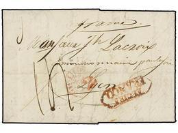 33 ESPAÑA: PREFILATELIA. 1840. ALCIRA A FRANCIA. Marca <B>ALCIRA/FRANCO</B> En Rojo. MUY RARA. - Stamps