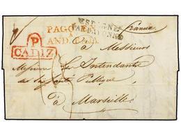 38 ESPAÑA: PREFILATELIA. 1820. CADIZ A MARSELLA. Carta Con Membrete Ilustrado En El Interior Del Consulado Francés En Cá - Stamps