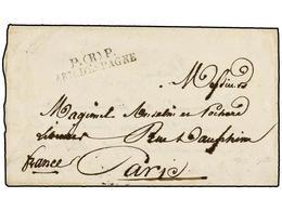 43 ESPAÑA: PREFILATELIA. 1823. <B>EJÉRCITOS FRANCESES.</B> CÁDIZ A FRANCIA. Marca <B>P. (R) P./ARM. D'ESPAGNE.</B> MAGNÍ - Stamps