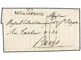 44 ESPAÑA: PREFILATELIA. 1823 (2 Junio). <B>EJÉRCITOS FRANCESES. </B>MADRID A FRANCIA. Marca <B>(C)/ARM. D'ESPAGNE</B>.  - Stamps