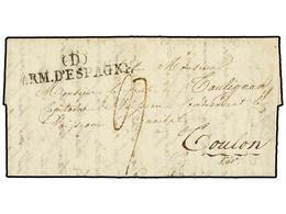 45 ESPAÑA: PREFILATELIA. 1824 (3 Feb.). <B>EJÉRCITOS FRANCESES.</B> PAMPLONA A FRANCIA. Marca <B>(D)/ARM. D'ESPAGNE.</B> - Stamps