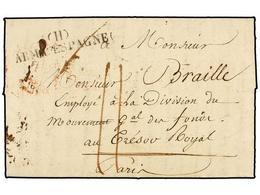 46 ESPAÑA: PREFILATELIA. 1824 (20 Marzo). <B>EJÉRCITOS FRANCESES.</B> BURGOS A FRANCIA. Marca <B>(H)/ARM. D'ESPAGNE.</B> - Stamps