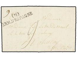 47 ESPAÑA: PREFILATELIA. 1824. <B>EJÉRCITOS FRANCESES. </B>MADRID A FRANCIA. Marca <B>(M)/ARM. D'ESPAGNE.</B> MUY BONITA - Stamps