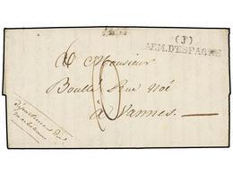 48 ESPAÑA: PREFILATELIA. (1826 Ca.). <B>EJÉRCITOS FRANCESES. </B>VITORIA A FRANCIA. Texto Parcial. Marca <B>(J)/ARM. D'E - Stamps