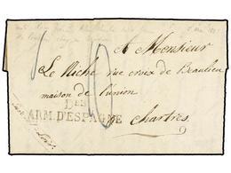 49 ESPAÑA: PREFILATELIA. (1826 Ca.). <B>EJÉRCITOS FRANCESES.</B> Carta Completa Sin Fecha Ni Lugar De Origen (con Toda P - Stamps